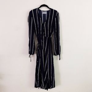 Urban Outfitters Navy Striped Wrap Dress